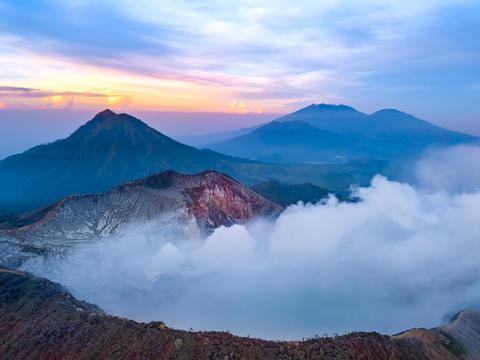 Active Volcano at Dawn on the Island of Java. Aerial View Fotografía