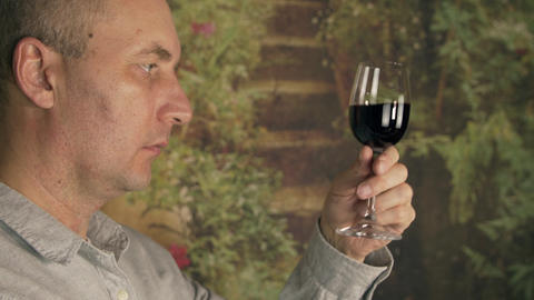 Sommelier smelling flavor red wine in glass and tasting. Red wine degustation Footage