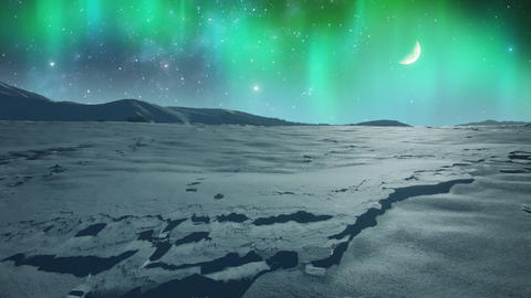 Northern Lights over Icy Plain Footage