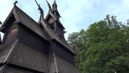 Norway Bergen Fantoft stave Church exterior view Footage