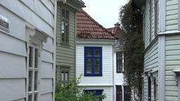 Norway Skuteviken Bergen view between old Scandinavian residential houses Footage