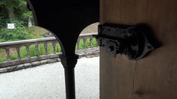 Norway City Of Bergen Fantoft stave church door bolt close up Footage