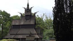 Norway City Of Bergen Fantoft original Norwegian stave church from far Footage
