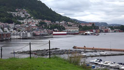 Norway Gamle Bergen city of bergen at opposite side of bay Footage