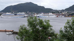 Norway City Of Bergen two AIDA cruise ships seen from opposite side of bay Footage