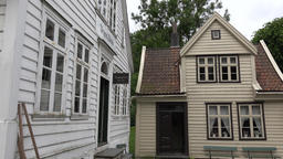Norway Gamle Bergen white facade and gable of old Nordic wooden houses Footage