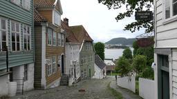 Norway Gamle Bergen row of old Norwegian houses at a steep gradient Footage