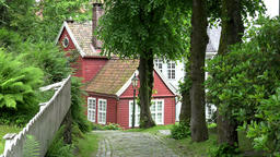 Norway old Bergen red painted Scandinavian house at a forest Footage