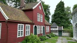 Norway Gamle Bergen red painted Scandinavian school building from wood Footage