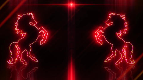 Red Neon Rearing Horse Intro Logo Animated Background Loopable Animation