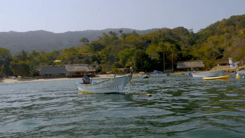 Two pelicans sitting on a small boat anchored just off shore of a small tropical Footage