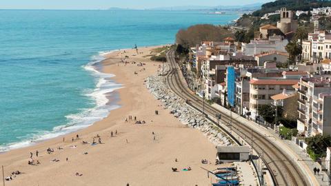 """Aerial view of """"Sant Pol de Mar"""".Time lapse Archivo"""