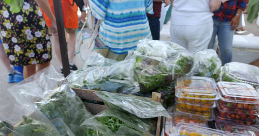 Shopper buying and selecting fresh organic greens, lettuce, cherry tomatoes, and Footage
