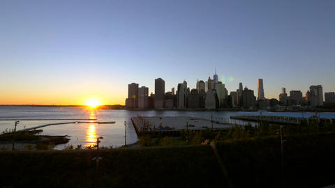 Sunsetting over the Manhattan skyline Footage