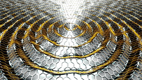 Animation of flow yellow metallic liquid with animated reflections. Loopable Animation