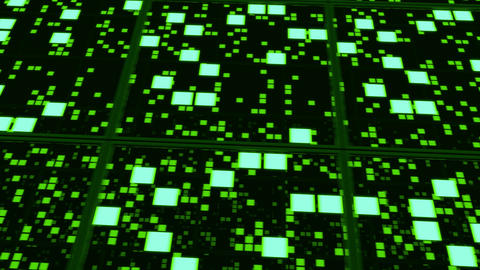 Perspective surfaces with green random glowing tiles Animation