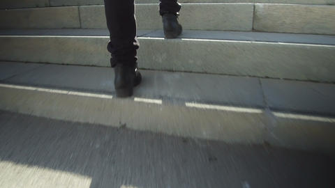 Climbing a stairs, low angle shot.Time Lapse Footage