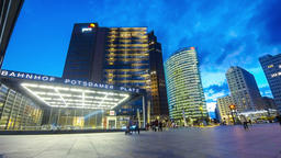 Evening view of Potsdamer Platz, Berlin, Germany Footage