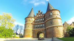 Holsten Gate (Holstentor) in Lubeck, Germany Footage