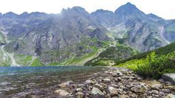 Black Lake below Mount Rysy in Tatra mountains, Poland Footage