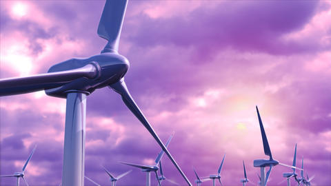 Wind generators farm against a purple sky loop Animation