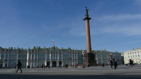 Column in the square in front Winter Palace Footage