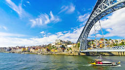 Porto old town and Douro river, Portugal Footage