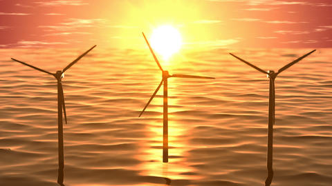 Wind generators in ocean on sunset seamless loop Animation
