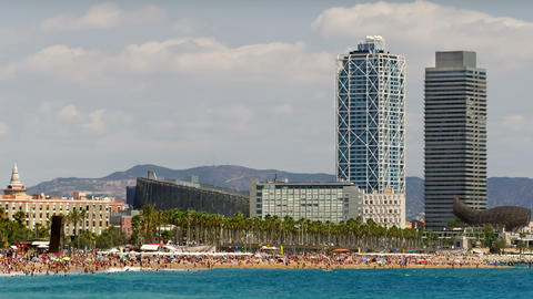 Beaches and architecture of Barcelona city.Time lapse Footage