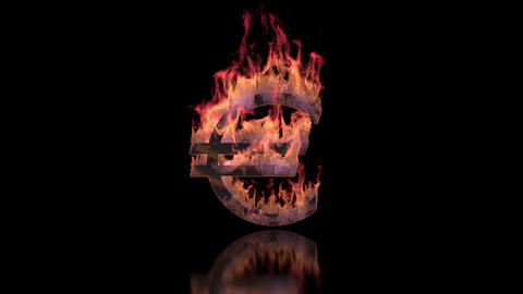 Euro sign burning in flames on the glossy surface, financial illustration Animation