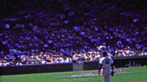 1963: Cubs baseball game Wrigley field crowd stadium pan Footage