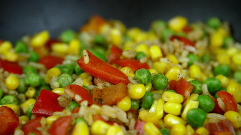 The vegetable mixture is fried Footage