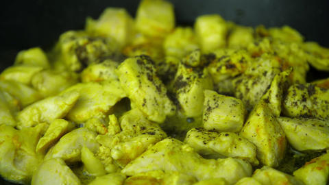 Put chicken and turmeric powder with pepper Live Action