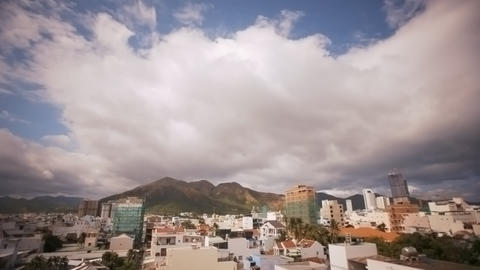 City with Modern Buildings and Mountain Timelapse Archivo