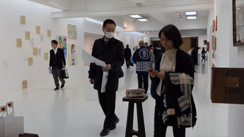 Art Gallery In Tokyo Japan Asia With Visitors And Artwork Footage