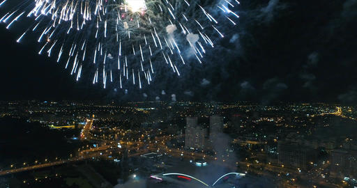 Shooting fireworks from a great height Footage