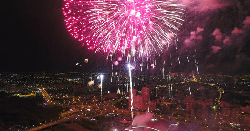 Fireworks shooting from the drone Footage