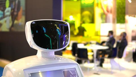 Promo robot to work at exhibitions. Robot guide. Modern technologies in Footage