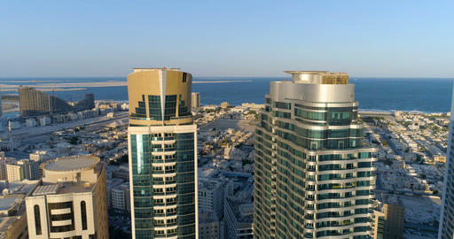 Sharjah, United Arab Emirates – November 24, 2017: Panorama of the city from a Footage