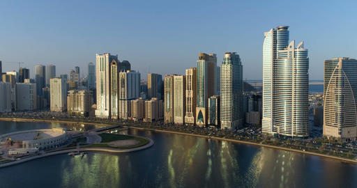 Panorama of the city from a bird's-eye view. Sharjah Footage