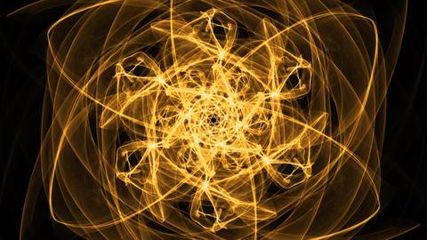 Fiery orange mandala with divergent motion effect for energy obtaining Animation