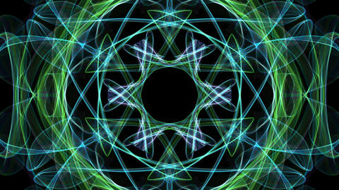 Live green and blue fractal calming mandala, video tunnel on black background Animation