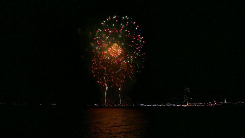Fireworks over the sea in Barcelona Footage