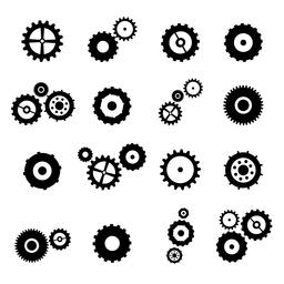 Cogs And Gears Spinning Icons With Alpha Channel Animation