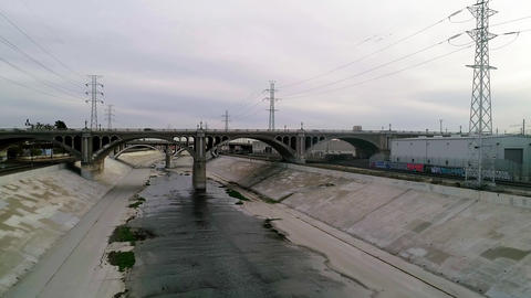 LA River and Bridge with cars Footage