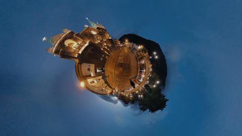 Basilica De La Reina Del Rosario De Banos De Santa Agua At Night Footage