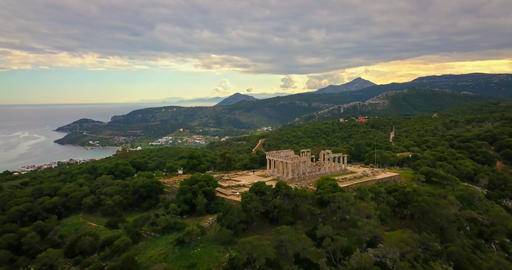 Aerial view of ancient temple of Afea Aphaia on Aegina island Footage