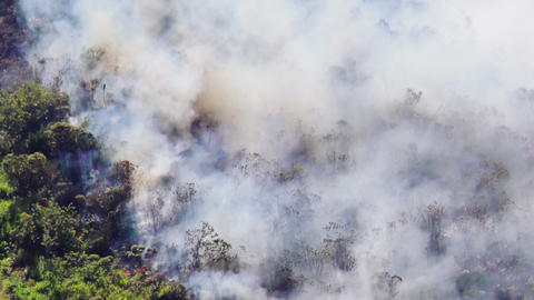 Smoke Rising In The Wind From A Wildfire In The Mountain Of Banos Ecuador Footage