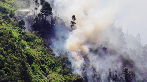 Firefighters Putting Out Fire In The Mountain Of Banos Ecuador Footage
