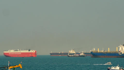 SINGAPORE MAR ,2018 : The view from the marina barrage, the cargo ship or the Footage